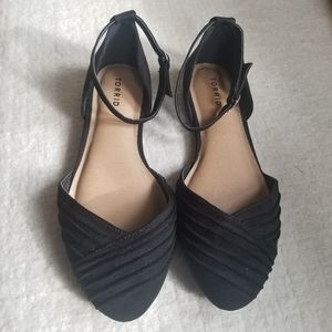 TORRID Shoes Black Flats Faux Suede Pointed Strapy